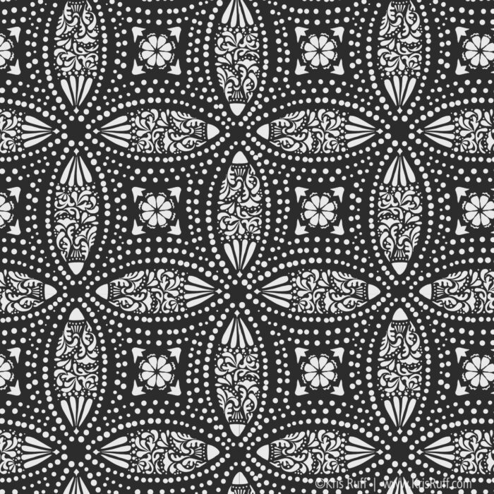 Black Overlapping Medallions Fabric ©Kris Ruff